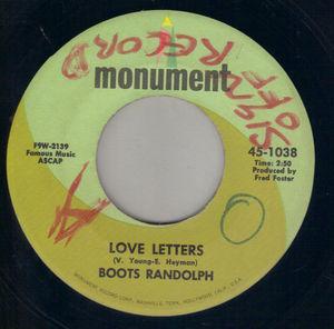 Boots Randolph Love Letters Monument 7 Single Vinyl Rare
